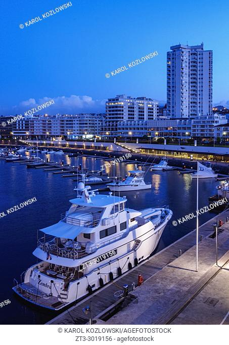 Port in Ponta Delgada, twilight, Sao Miguel Island, Azores, Portugal