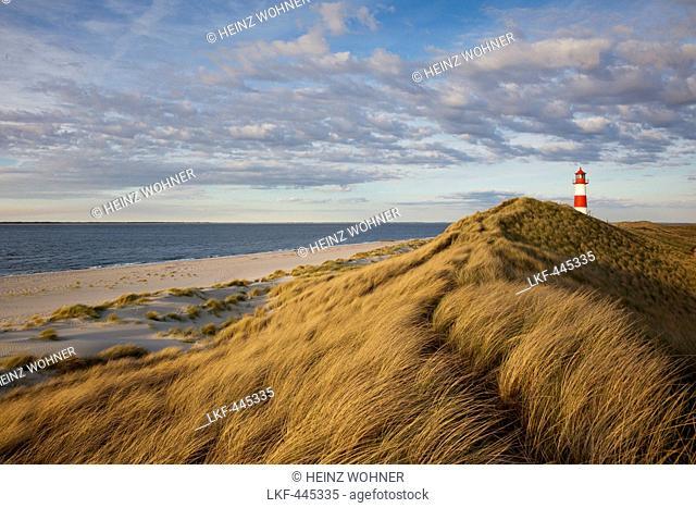 List Ost lighthouse, Ellenbogen peninsula, Sylt island, North Sea, North Friesland, Schleswig-Holstein, Germany