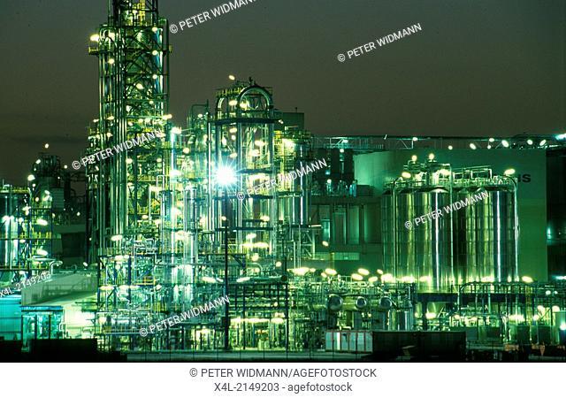 refinery illuminated in the night, Austria, Vienna Schwechat