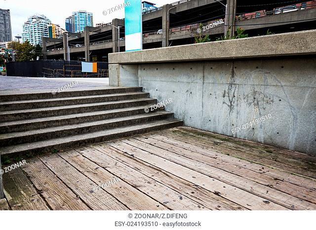 concrete steps and vintage wooden floor