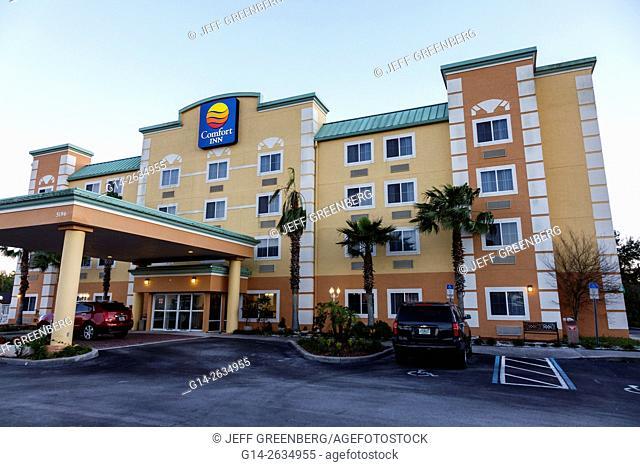 Florida, FL, Orlando, Kissimmee, Comfort Inn, hotel, outside, exterior, front, entrance, sign