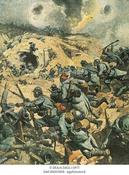 Battle of Verdun in France. Illustrator Achille Beltrame (1871-1945), from La Domenica del Corriere, 1916