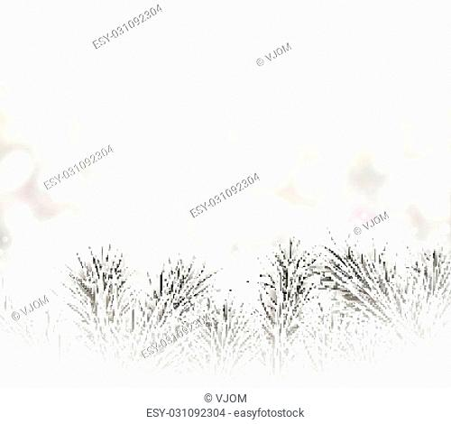 Silver defocused christmas background. Spruce branches. Vector illustration