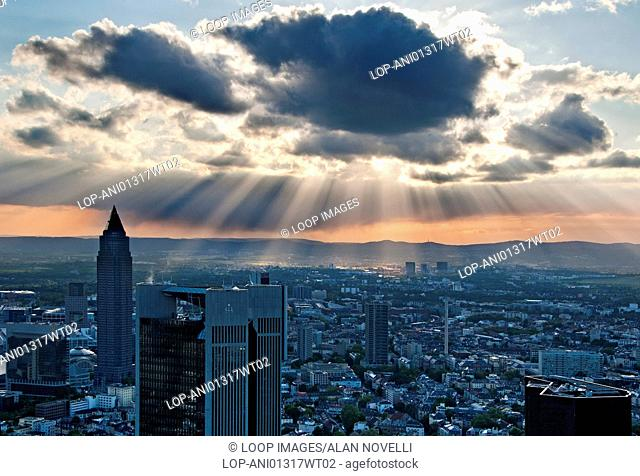 Spectacular view of the city of Frankfurt from the Main Tower