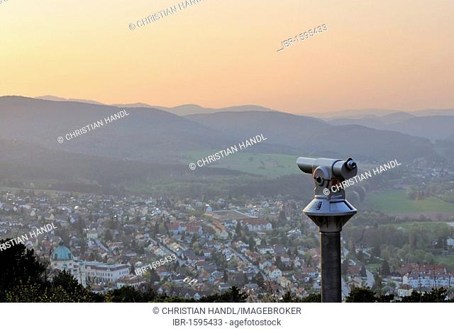 Coin-operated telescope overlooking Berndorf, Guglzipf lookout, Triestingtal valley, Lower Austria, Austria, Europe