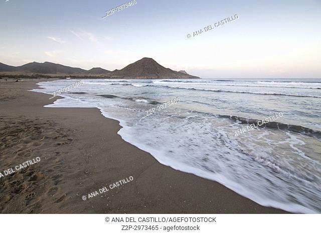 Nature landscape Genoveses beach in Cabo de Gata nature reserve, Almeria, Andalusia, Spain