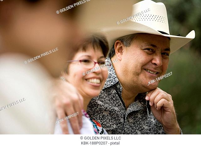 View of a smiling mature Tex-Mex couple