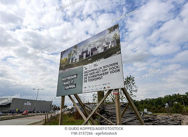 Rotterdam, Netherlands. Huge billboard, attracting attention to the floating farm under construction inside the 4th Merweharbour