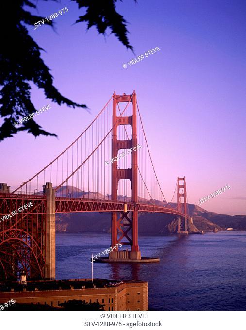 America, Bay, Bridge, California, Golden gate, Golden gate bridge, Holiday, Landmark, San francisco, Span, Sunset, Tourism, Trav