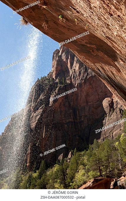 Underside of waterfall in Zion National Park, Utah, USA