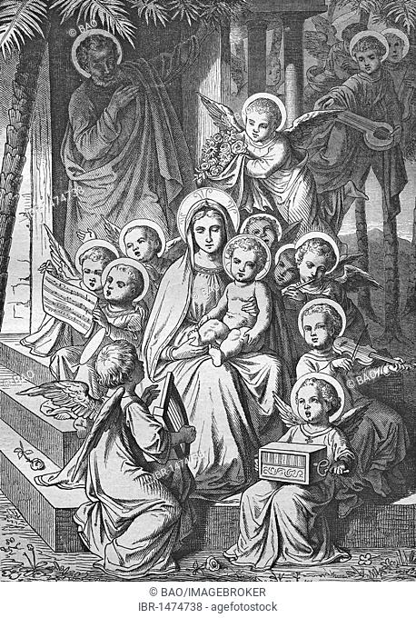 The angels praising the Savior, historic steel engraving from 1860