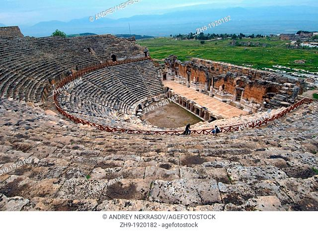 Theater, Antique city of Hierapolis, Pamukkale, Turkey, Western Asia