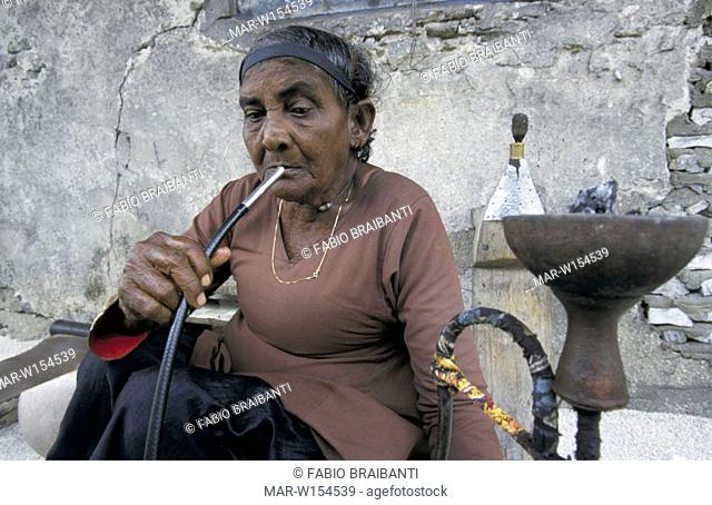 maldives, feridhoo, woman with narghile