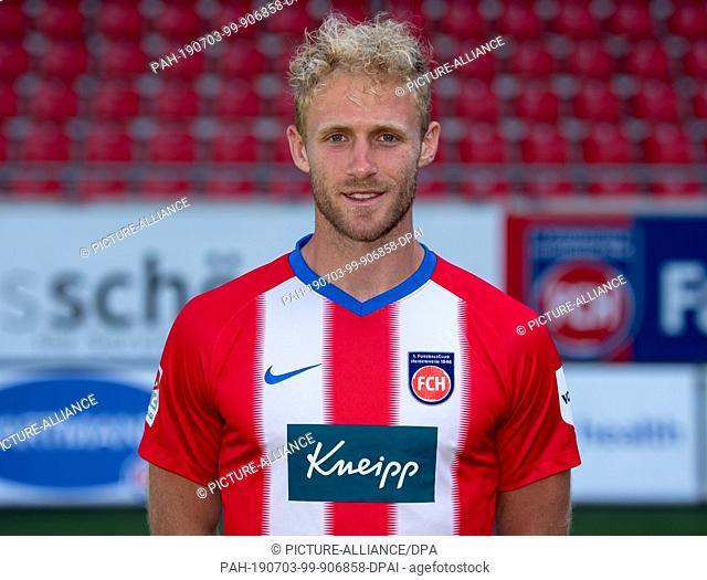 02 July 2019, Baden-Wuerttemberg, Heidenheim: Soccer: 2nd Bundesliga, FC Heidenheim photo session for the 2019/20 season in the Voith Arena: Player Sebastian...