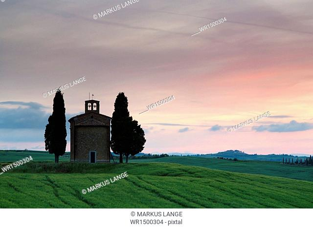 Capella di Vitaleta, Val d'Orcia, UNESCO World Heritage Site, Province Siena, Tuscany, Italy, Europe