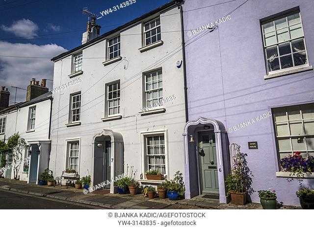 Worthing, Posh row of houses in Warwick Place, West Sussex, England, UK