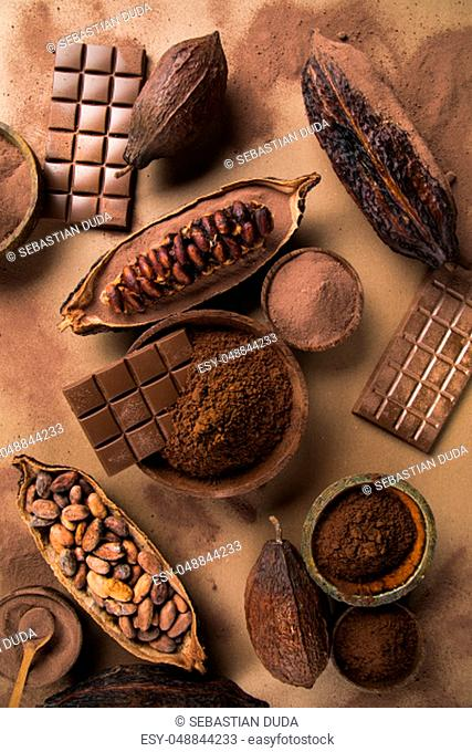 Collection chocolate, Cocoa pod, candy sweet, dessert on natural paper background