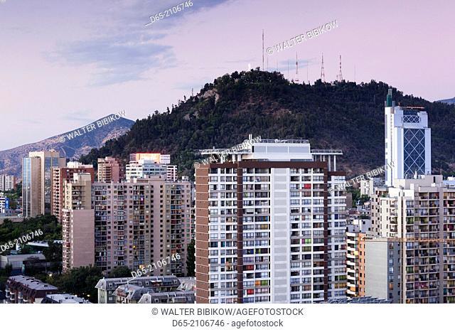 Chile, Santiago, elevated city view, dusk