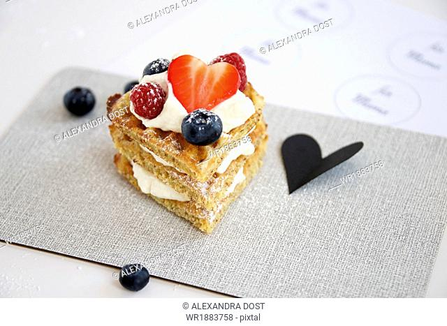 Fresh Waffle With Berries, Munich, Bavaria, Germany, Europe