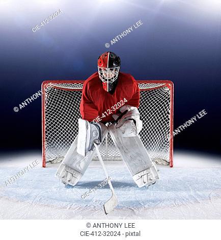 Portrait determined hockey goalie protecting goal net on ice