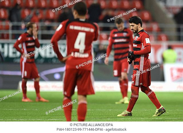The Ingolstadt players, with Almog Cohen on the right, disappointed after the German 2nd division Bundesliga soccer match between FC Ingolstadt 04 and SV...