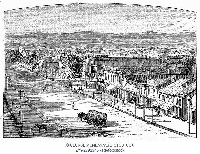 1879: A street in Salt Lake City, Utah, United States of America