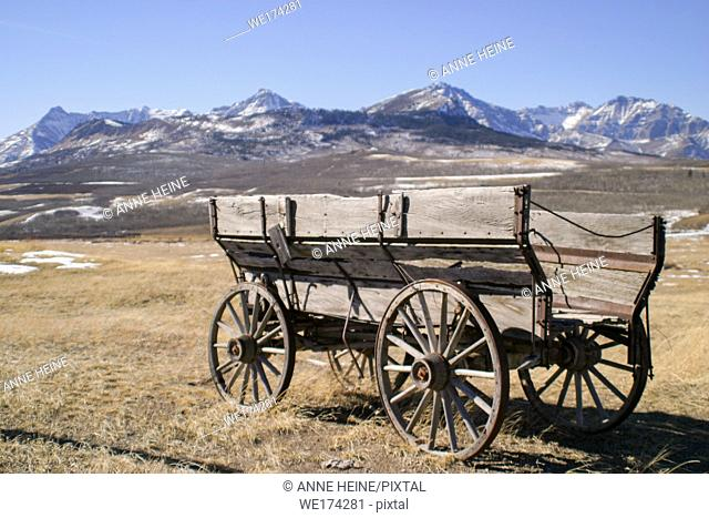 old abandoned carriage in the foothills of canadian rockies, canada, alberta,