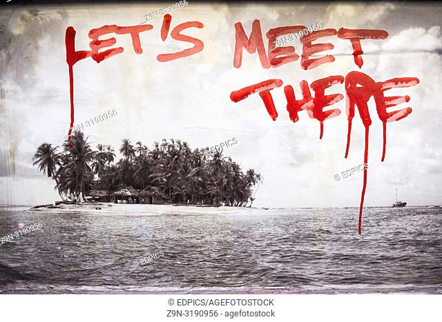 "black and white photograph of a tropical island and the inscript """"let's meet there"""", paris, ile de france, france"