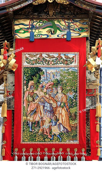 Japan, Kyoto, Gion Matsuri, festival, float, decoration, tapestry,