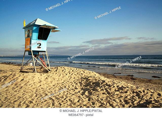 USA, California, San Diego, Lifeguard station at Coronado Beach
