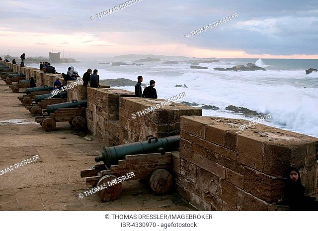 Old European cannons of Skala de la Ville, fortification built along the shore of the Atlantic Ocean at Essaouira, Morocco