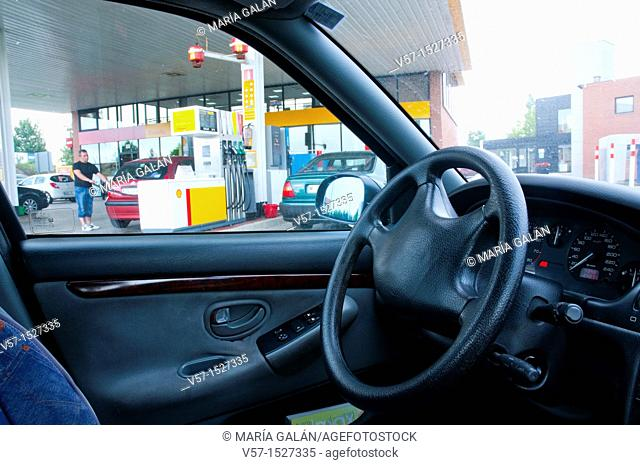 Gas station. View from the inside of a car