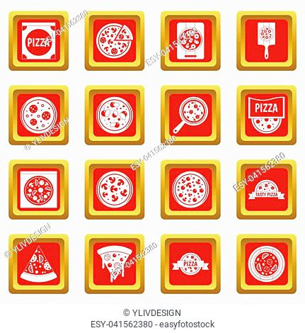 Pizza icons set in red color isolated illustration for web and any design