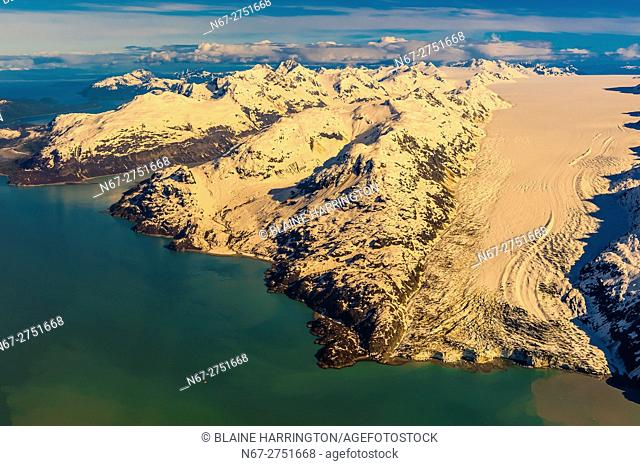 Aerial view of Lamplugh Glacier, Glacier Bay National Park, southeast Alaska USA. Glacier Bay is a UNESCO World Heritage Site