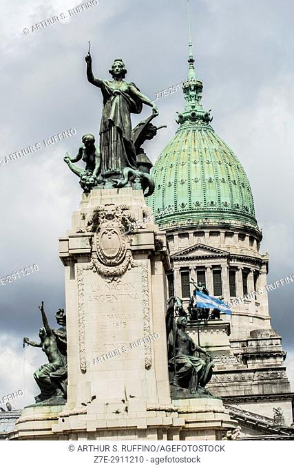 Allegory of the Republic sculpture symbolizing Argentina. Monument to the Two Congresses (Monumento de los Dos Congresos), Congressional Plaza, Avenida de Mayo