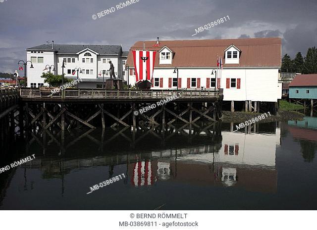 USA, Alaska, Alexander-archipelago, Mitkof Iceland, Peter-castle, Viking-boat Valhalla, Boyer Wikan Fishermen's Memorial park, North America, southeast-Alaska