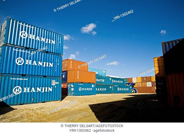 Containers close to Algeciras harbour, Cadiz province, Andalusia, Spain