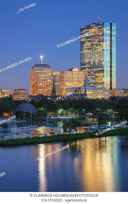 Twilight view of the Boston skyline including the John Hancock building, as seen over the Charles River from the Longfellow Bridge, Boston, Massachusetts, USA