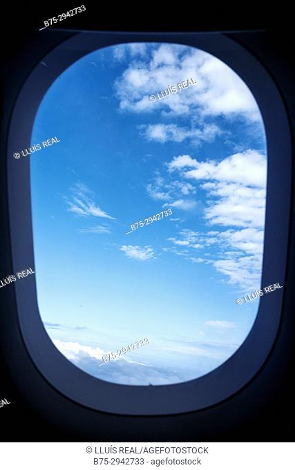 View from inside airplane