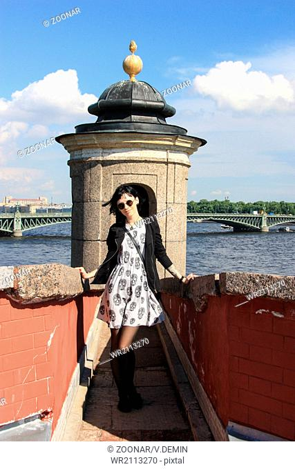 Goth Girl in Old Russian Fortress