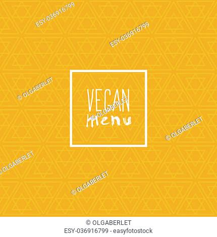 vegan menu- motivational poster or banner with hand-lettering phrase eat healthy on ogange background with trendy linear seamless geometric pattern