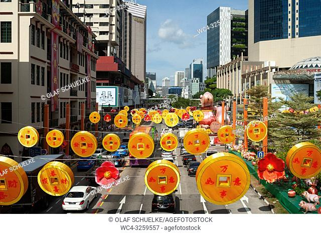 Singapore, Republic of Singapore, Asia - Annual street decoration for the Chinese New Year celebrations in Singapore's Chinatown district along Eu Tong Sen...