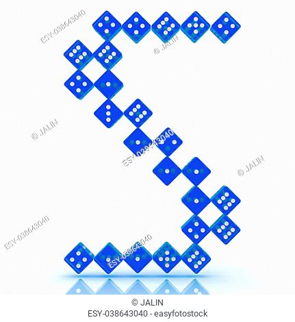 Dice font letter S. Blue refractive dice on white background