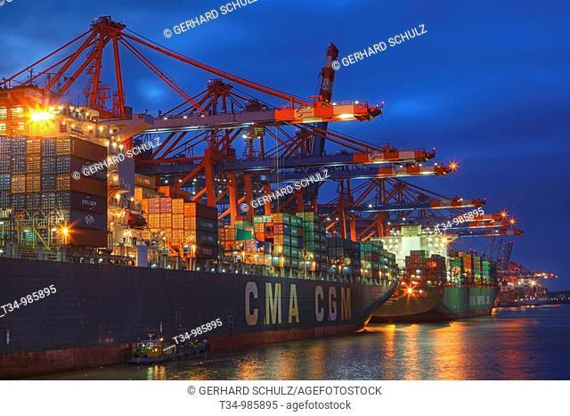 Containerschiffe am Eurogate im Hamburger Hafen, Deutschland , Container Ships at Eurogate in Hamburg Harbour, Germany