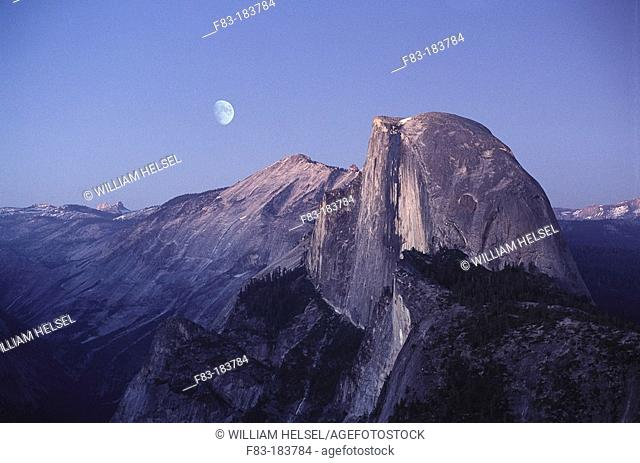Half dome from Glacier Point at dusk. Yosemite National Park. California. USA