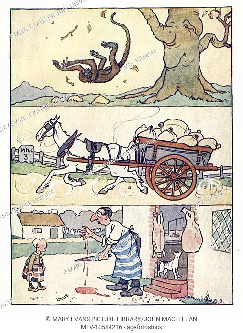 Nursery Rhymes -- three illustrations, showing a monkey falling from a tree, a horse pulling a cart full of sacks, and a butcher who has cut his hand on a knife