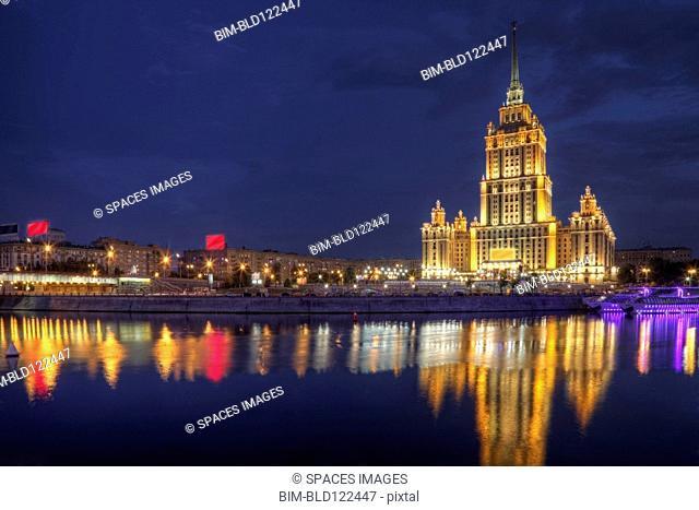 City skyline illuminated at night, Moscow, Russia