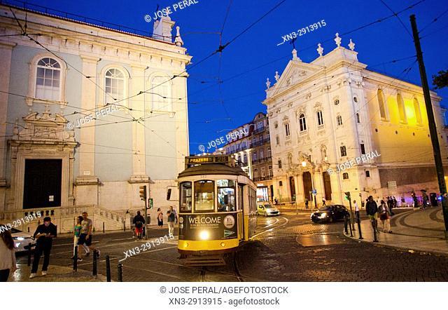 Tram, at right Church of Our Lady of the Incarnation from Luís Camoes Square, Igreja Da Nossa Senhora Da Encarnação, Praça Luís de Camões, Lisbon, Portugal