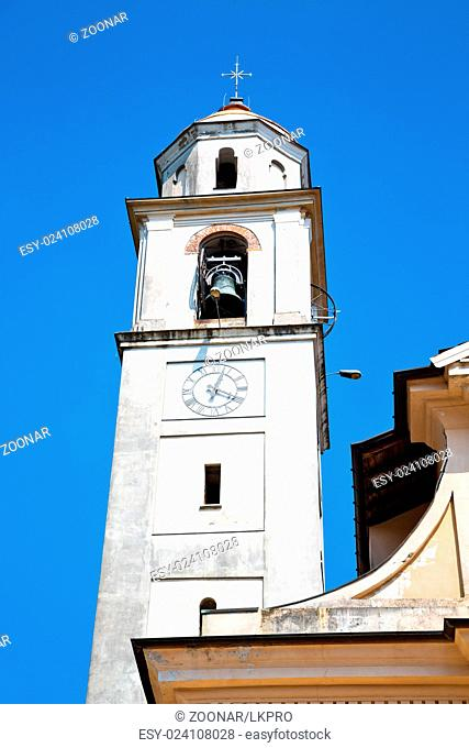 building clock tower in europe old stone and bell