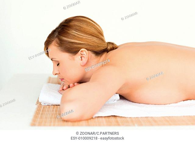 Young and pretty blond-haired woman relaxing